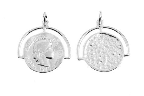 Srebro 925 Zawieszka moneta 837e 10mm 1szt.