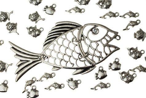 Zestaw Metalowych zawieszek Ryby